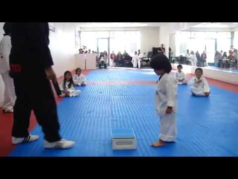 テコンドーで板割に挑戦する可愛すぎる子供 - YouTube