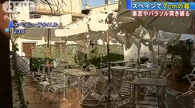 スペインで7cm大の雹 車窓に穴、傘はズタズタ