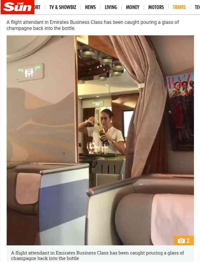 エミレーツ航空CA、グラスシャンパンをボトルに注ぎ戻す瞬間を撮影される<動画あり>