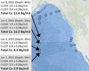 福島放射能の記録的レベルが米国西海岸沖で検出された・大規模プルームが1600km以上拡がる・セシウム11Bq/m3 ナルト大橋
