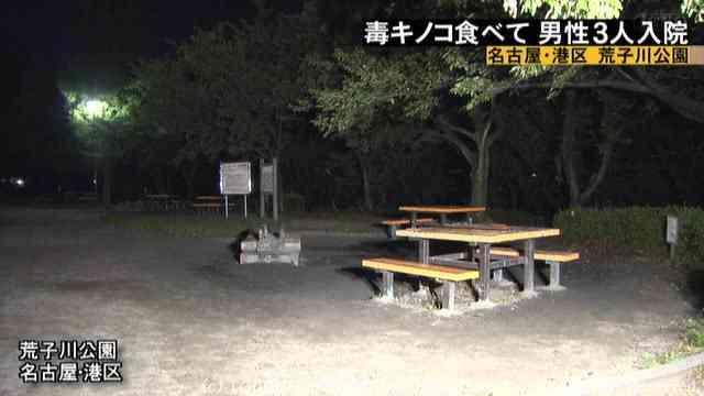 公園の毒キノコ食べ中毒 名古屋でバーベキューの3人