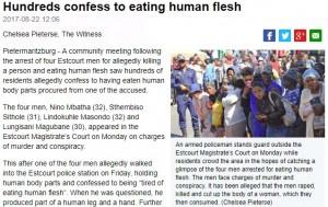 【閲覧注意】「人肉は食べ飽きた」と男が自首した村 住民の3分の1が人肉を口に(南ア)