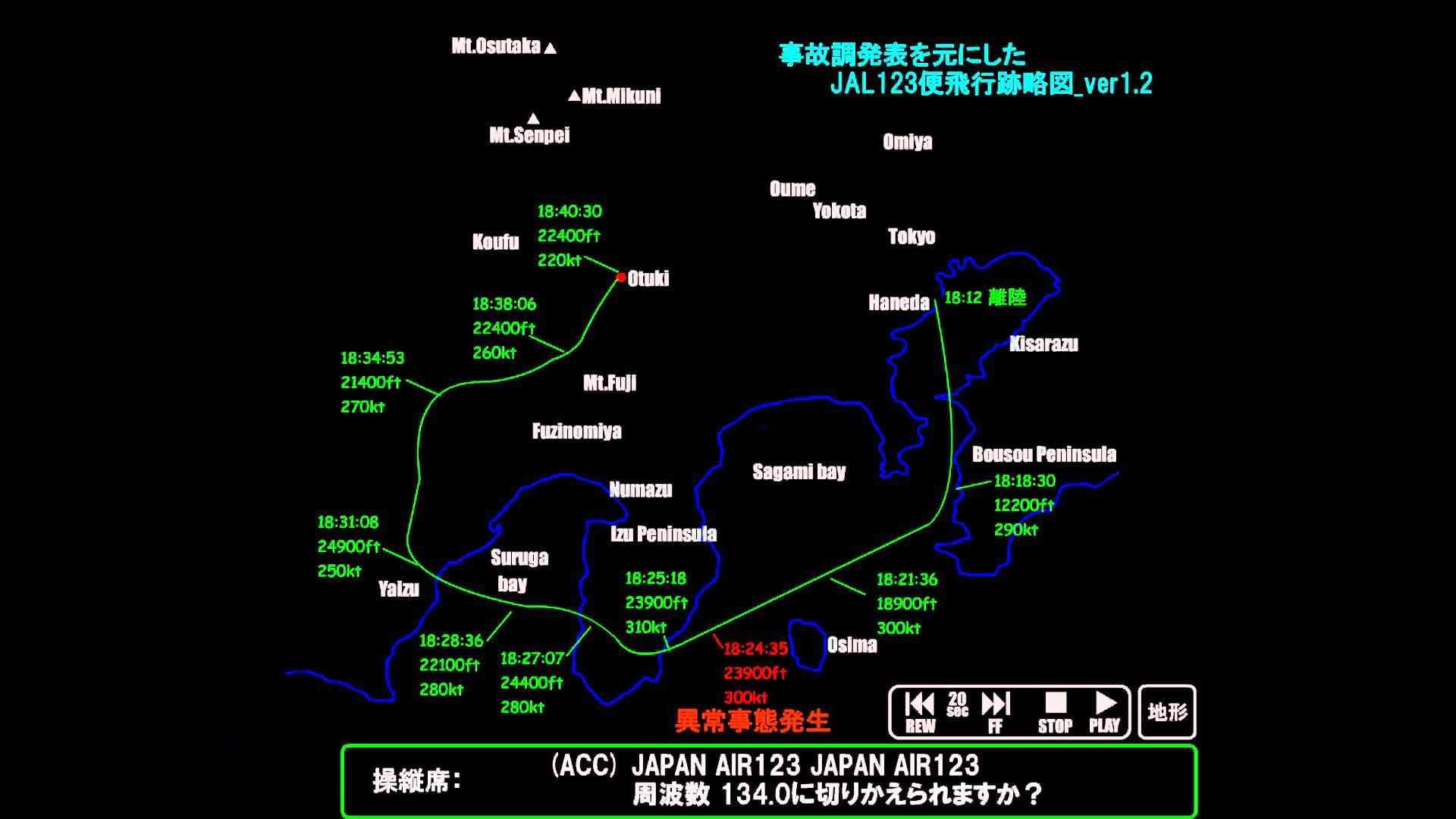 日航ジャンボ機 - JAL123便 墜落事故 (飛行跡略図 Ver1.2 & ボイスレコーダー) - YouTube