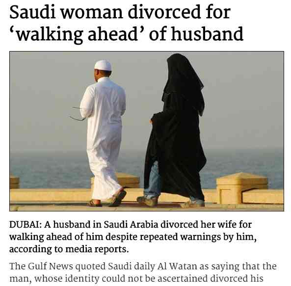 男尊女卑のサウジアラビアらしい離婚理由に世界が呆れる 「何度も注意したのに妻は…」