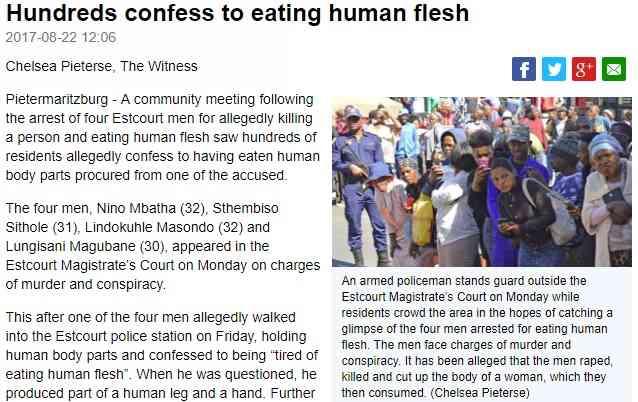 【海外発!Breaking News】「人肉は食べ飽きた」と男が自首した村 住民の3分の1が人肉を口に(南ア) | Techinsight(テックインサイト)|海外セレブ、国内エンタメのオンリーワンをお届けするニュースサイト