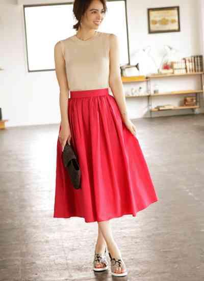 【Made in JAPAN】サマーレッドのミディ丈ギャザースカート スカート | おしゃれな大人レディースファッション通販STYLE DELI