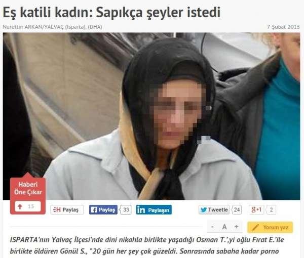 アダルトビデオのような性行為や暴力に耐えかねて、49歳女が恋人を刺殺。(トルコ)