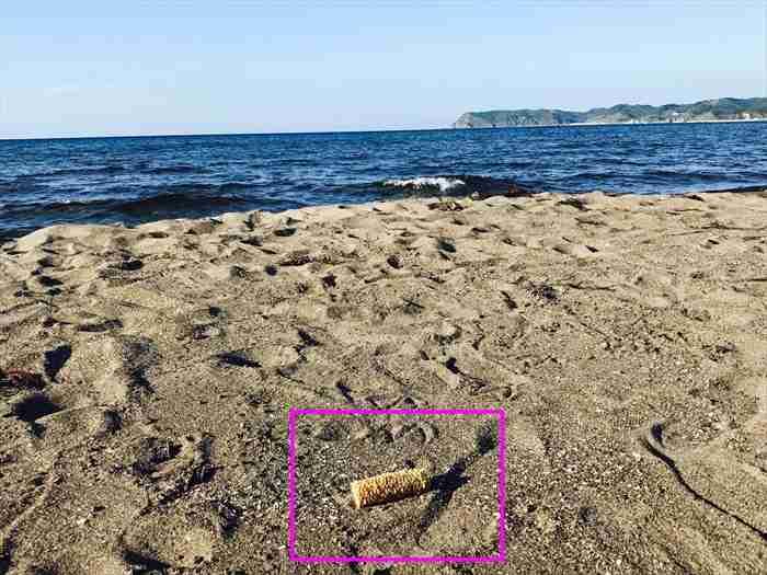 砂浜に埋められた