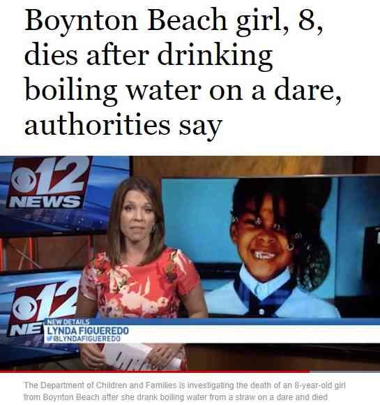 【海外発!Breaking News】熱湯を一気に飲む愚行が流行か 8歳女児が死亡(米) | Techinsight(テックインサイト)|海外セレブ、国内エンタメのオンリーワンをお届けするニュースサイト