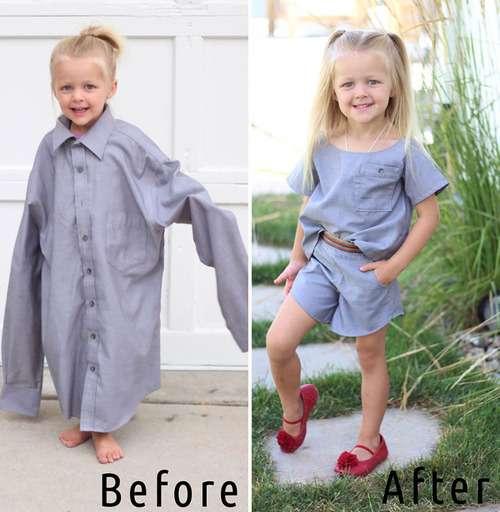 いらなくなったパパの古着を娘のドレスに大変身…ビフォー&アフター写真いろいろ