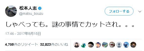 松本人志が意味深なツイート「ワイドナショー」を降板か?