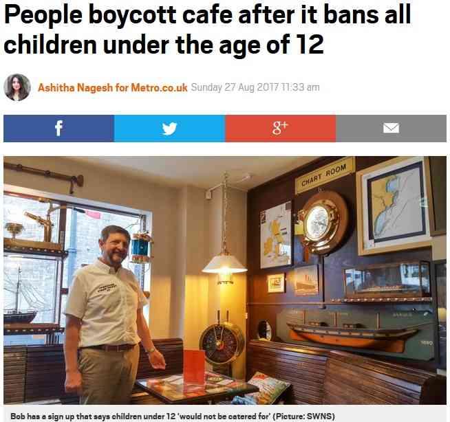 「犬はOK、12歳未満は入店禁止」のカフェに一部住民が怒り ボイコットの呼びかけも(英)