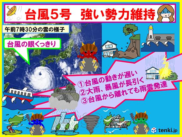 台風5号 列島の広範囲に影響 強い勢力維持