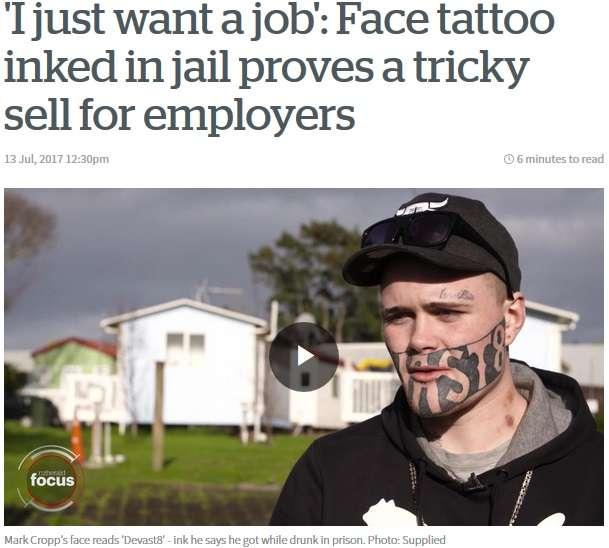 【海外発!Breaking News】顔のタトゥーが原因で職に就けない男性