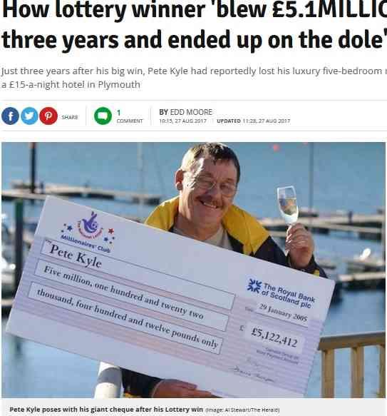 【海外発!Breaking News】宝くじで7億円超を獲得するも、3年で使い果たした男性の転落人生(英) | Techinsight(テックインサイト)|海外セレブ、国内エンタメのオンリーワンをお届けするニュースサイト