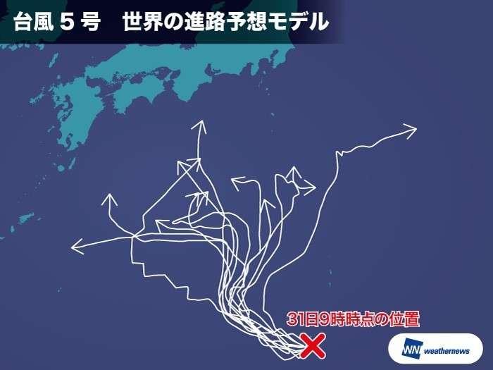 【台風5号】世界の台風予想、13パターンに意見割れる