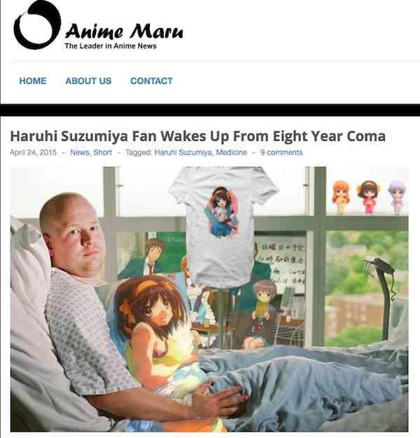 海外の「涼宮ハルヒ」ファンの男性が8年間の昏睡状態から目覚めたネタが話題にwww - AOLニュース