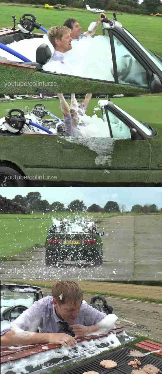 ユーチューバー「車にお湯はればいつでも風呂入れるんじゃね?」ムダに高い技術力で泡風呂に