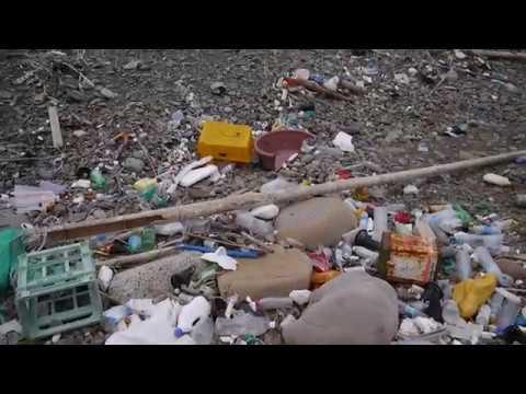 対馬(長崎県)に漂着した韓国のゴミ - YouTube