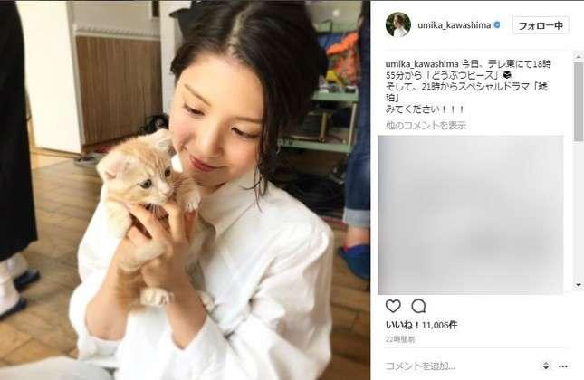 川島海荷の子猫になりたい! インスタ公開写真に「いいね」1万超