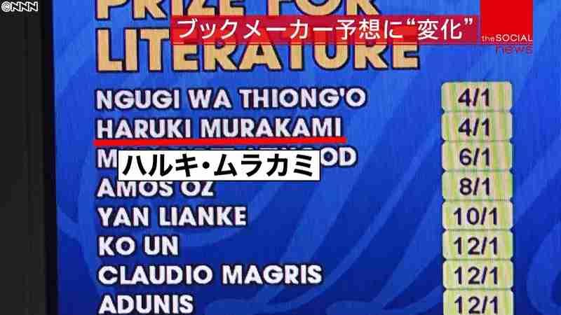 ノーベル文学賞、今夜発表 村上春樹さんは受賞者予想で2番人気