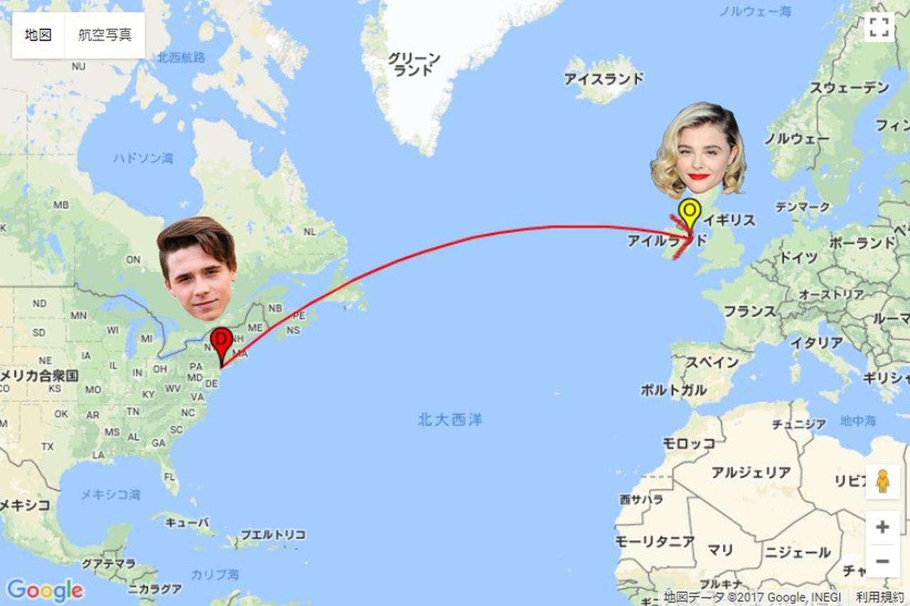18歳ベッカム家長男ブルックリン、5000キロ以上の距離を超えて恋人女優クロエ・モレッツにキスをしに行く