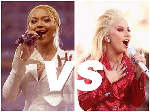 Lady Gaga vs Beyoncé - National Anthem - Super Bowl - YouTube