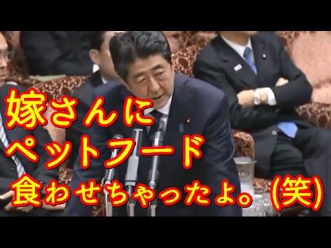【面白国会】爆笑ネタ3 衝撃!安倍総理「嫁がペットフード食ってたよ。」笑【国会中継】 - YouTube