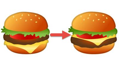 Googleがチーズバーガーの絵文字を修正、ほかにビールやチーズも - GIGAZINE