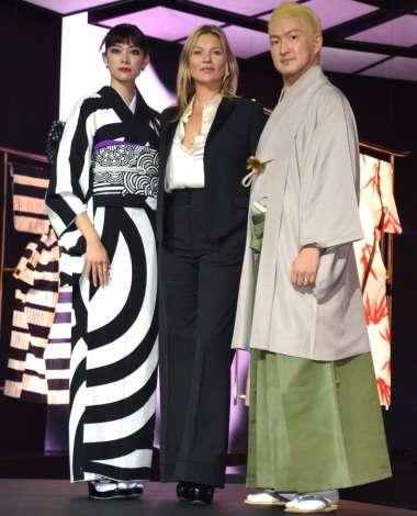 森星、着物姿を披露 イギリスの人気モデル ケイト・モスと共演
