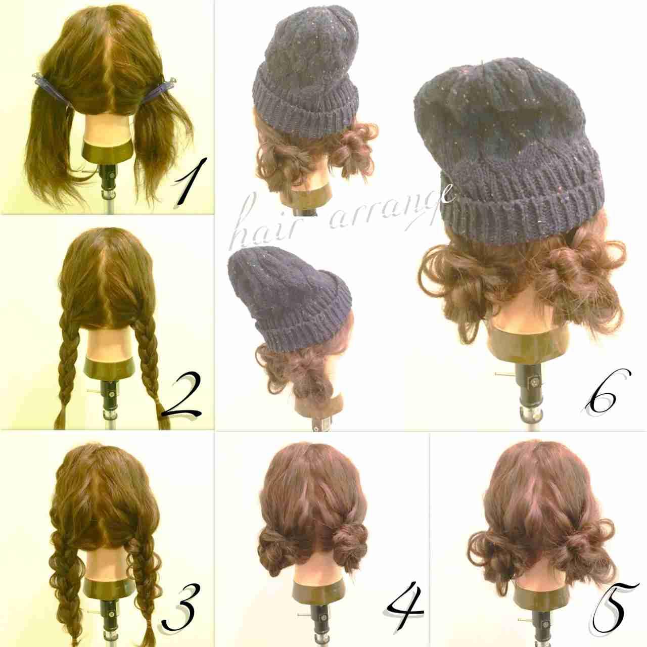 仕事帽子を被る時のまとめ髪教えてください!