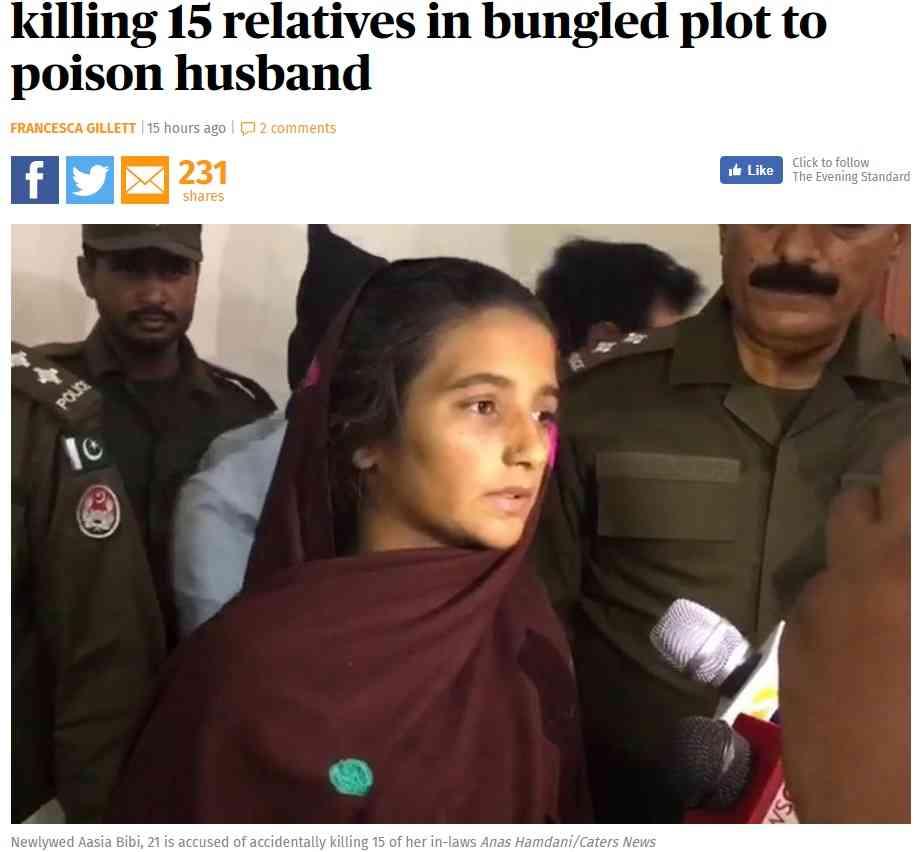 【海外発!Breaking News】夫を毒殺しようとした妻 失敗するも親類15名が犠牲に(パキスタン) | Techinsight(テックインサイト)|海外セレブ、国内エンタメのオンリーワンをお届けするニュースサイト