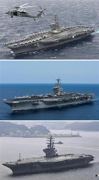 日本海で米空母3隻の演習開始 北朝鮮の反発で緊迫必至 - 産経ニュース