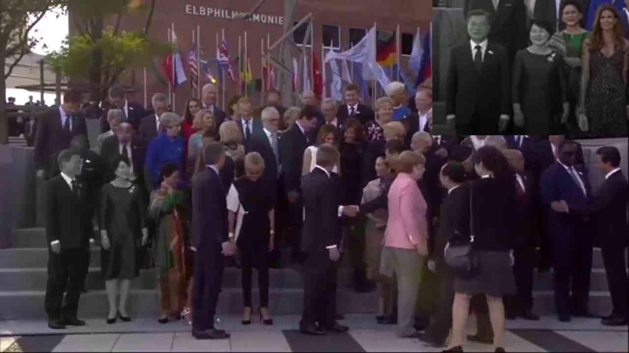 G20 정상회담 기념촬영에서 투명인간 된 문재인 부부 - YouTube