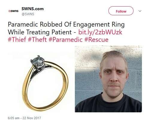 女性救急救命士、患者の治療中に貴重品の入ったバッグを盗まれる(英)