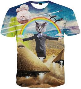 """あの""""サイケデリック猫Tシャツ""""がサイバーマンデーでまもなくセール開始「手から虹を出す猫Tシャツ」「猫の口から滝がドバァTシャツ」など"""