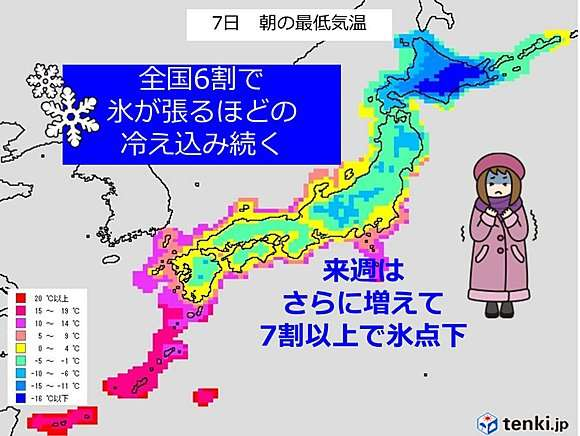 全国6割で氷張る寒さ 来週もっと強烈(日直予報士) - 日本気象協会 tenki.jp