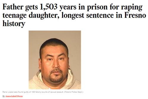 実の娘に対して4年間性的暴行したアメリカ人男性に1503年の懲役刑   ゴゴ通信
