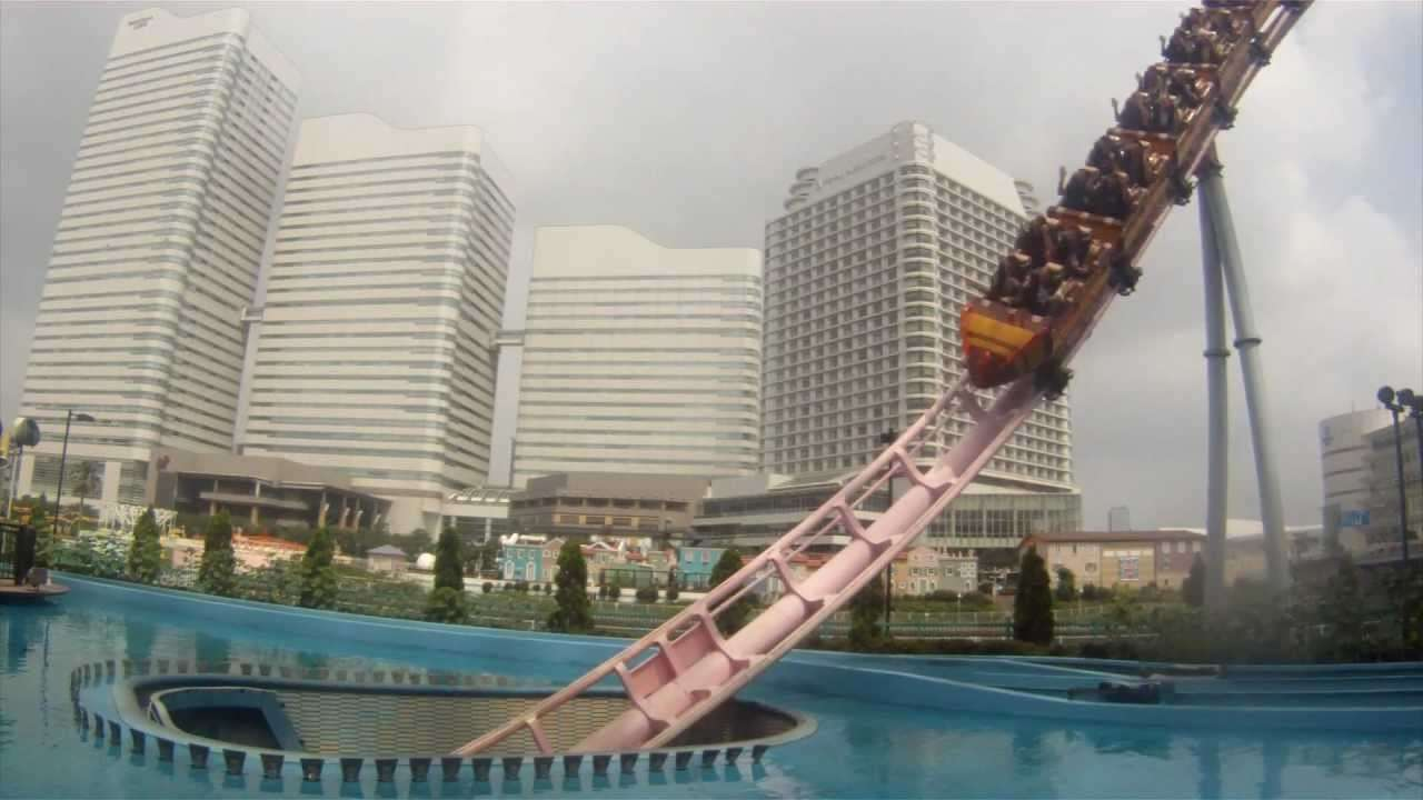 Diving Coaster Vanish Roller Coaster Off Ride Shots Yokohama Cosmoworld Japan - YouTube