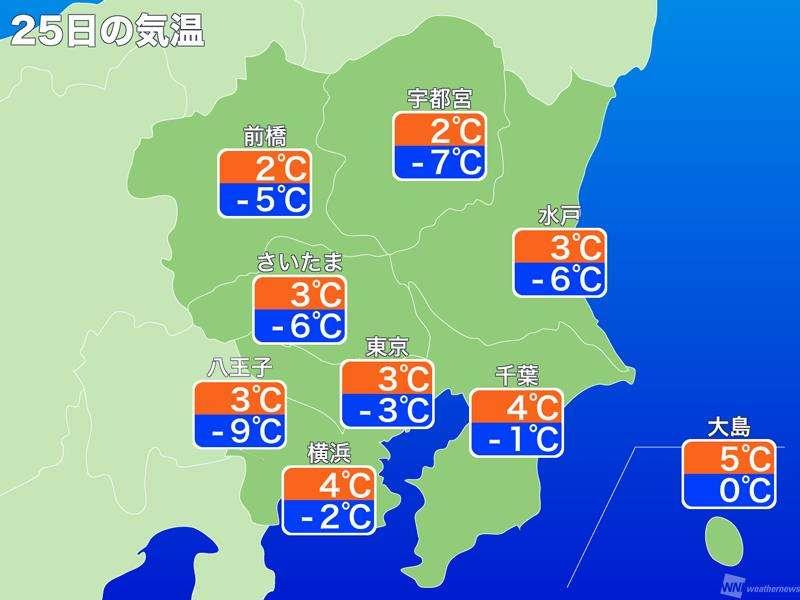 関東にも最強寒気が侵入 25日朝は平成で一番の寒さに - ウェザーニュース