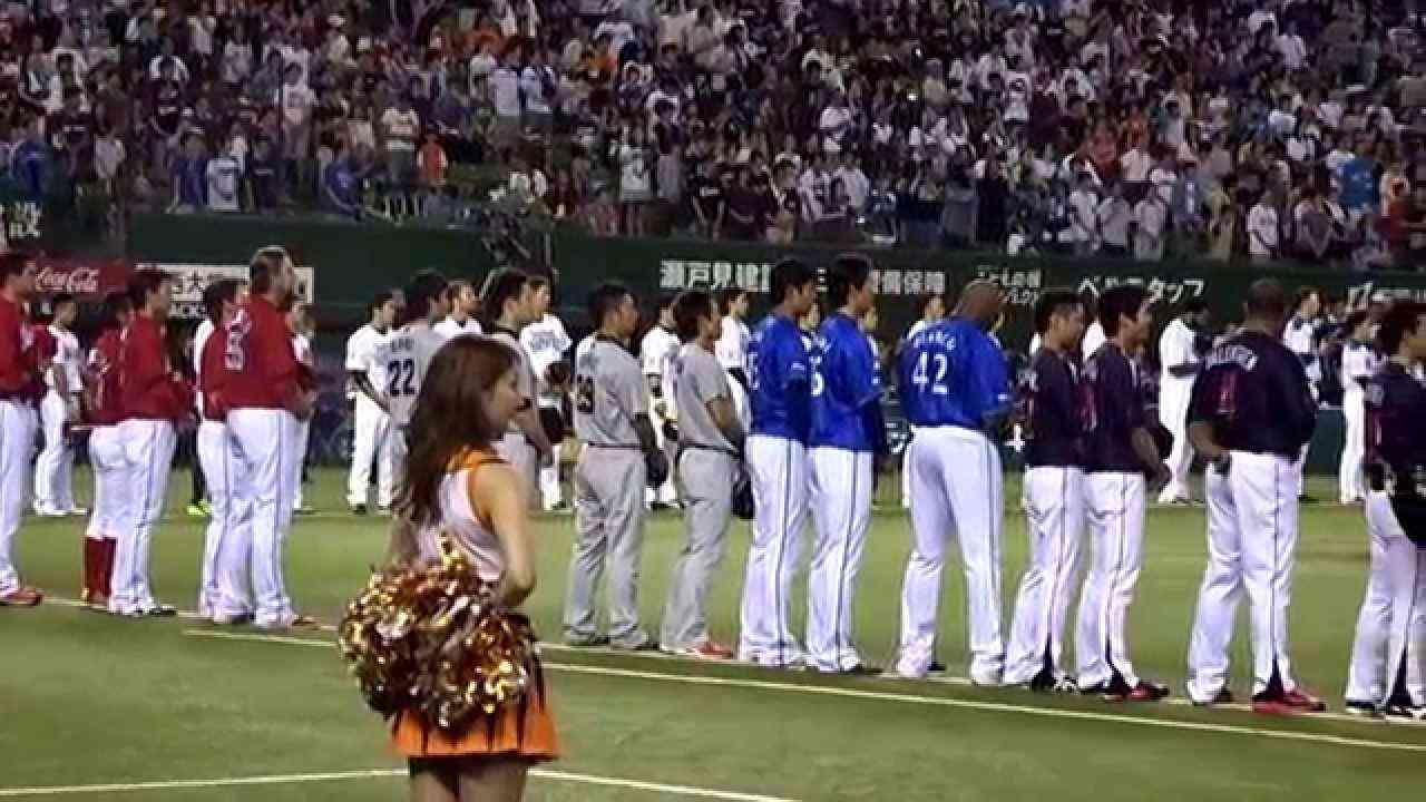 2014オールスター第一戦、国歌独唱松崎しげる氏 - YouTube