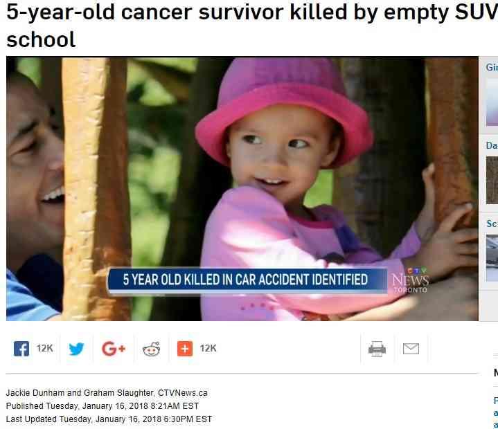 あまりにも悲運な5歳女の子 3歳からがん闘病、退院直後に車に轢かれ…(カナダ)