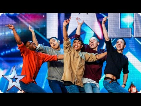 Golden buzzer act Boyband are back-flipping AMAZING! | Audition Week 2 | Britain's Got Talent 2015 - YouTube