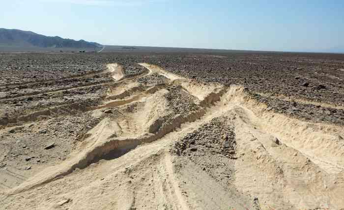 ナスカの地上絵、トラック進入で一部破損 100メートルにわたりタイヤ跡