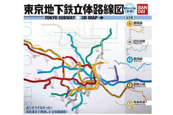 「東京メトロ路線図」のガシャポンが登場!高低差まで再現