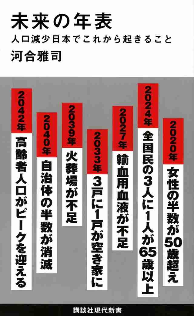 『未来の年表 人口減少日本でこれから起きること』(河合 雅司):講談社現代新書 講談社BOOK倶楽部