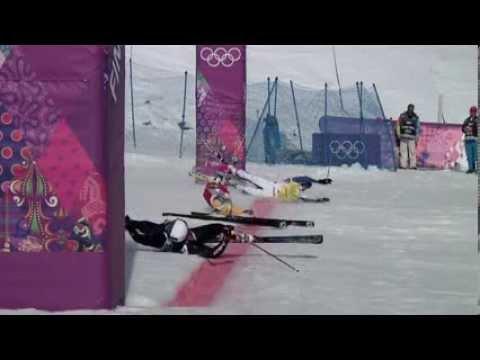 ソチ五輪・男子スキークロスで実況解説大興奮のゴール - YouTube