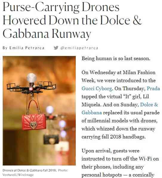 【海外発!Breaking News】ファッションモデル失業の危機? 「D&G」ショーでドローンがバッグを吊るしランウェイを舞う(伊) | Techinsight(テックインサイト)|海外セレブ、国内エンタメのオンリーワンをお届けするニュースサイト