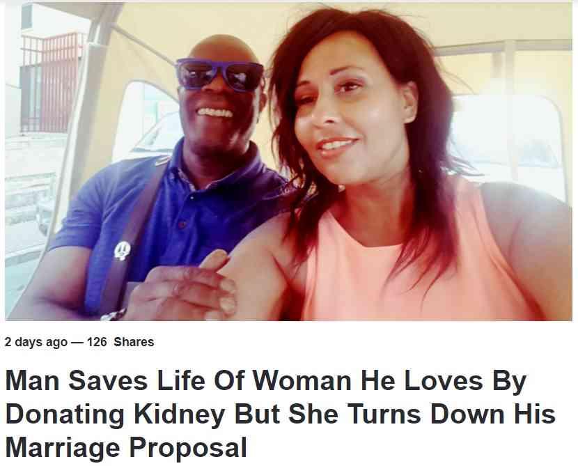 親友に腎臓提供した男性、その後プロポーズするも断られる(英)