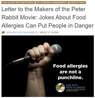 実写版「ピーター・ラビット」、ピーターが食物アレルギー患者にショック症状を起こさせる描写で物議